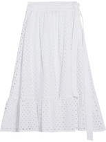 Tory Burch Hermmosa Broderie Anglaise Cotton Midi Skirt - White