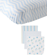 Luvable Friends Blue Fitted Crib Sheet & Blue Dot Receiving Blanket Set