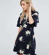 John Zack Petite Ruffle Shoulder Mini Tea Dress In Floral Print