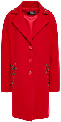 Love Moschino Studded Wool-blend Felt Coat