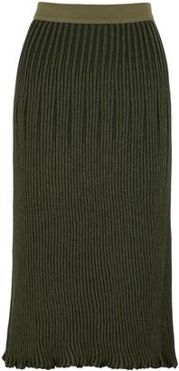 By Malene Birger Aulaxis Ribbed Metallic-weave Midi Skirt