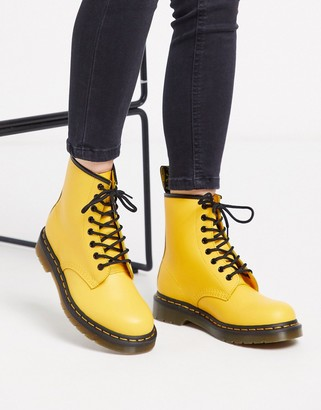 Dr. Martens 1460 leather flat ankle boots in yellow
