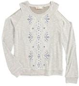 Miss Me Girl's Cold Shoulder Embroidered Top