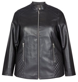 Dorothy Perkins Womens **Dp Curve Black Faux Leather Collarless Jacket, Black
