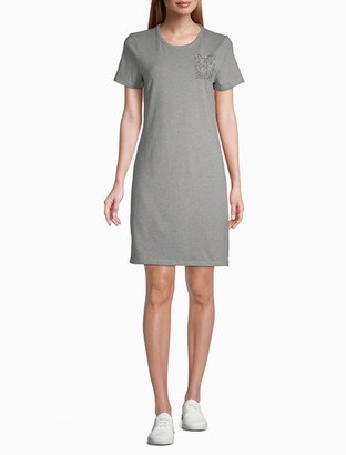 Calvin Klein Rhinestone Logo Block Short Sleeve T-Shirt Dress