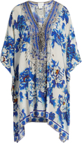 Camilla Ring of Roses-print lace-up silk kaftan