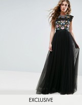 Needle & Thread Needle and Thread Lace Embroidered Maxi Dress with Flutter Sleeves