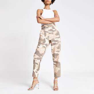 River Island Womens Beige camo paperbag jeans