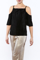 RD Style Black Cold-Shoulder Top