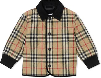 BURBERRY KIDS Vintage Check diamond quilted jacket