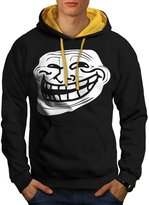 Trollface Troll Meme Men S Contrast Hoodie   Wellcoda