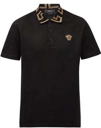 Versace Anagram-collar Cotton-pique Polo Shirt - Black