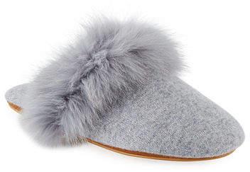 f5fe85ec2be Cashmere Fox Fur-Trim Mule Slippers