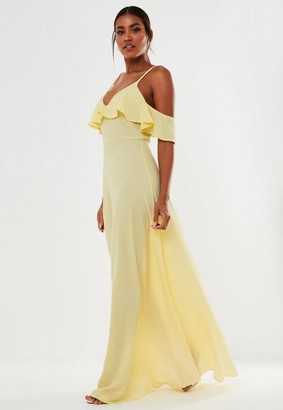 Missguided Yellow Bubble Crepe Cold Shoulder Maxi Bridesmaid Dress