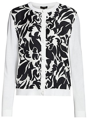 Escada Selona Long-Sleeve Abstract Floral Cardigan