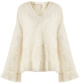 See by Chloe Tiered pleated floral-lace top