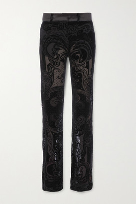 Balmain Devore-chiffon Flared Pants - Black