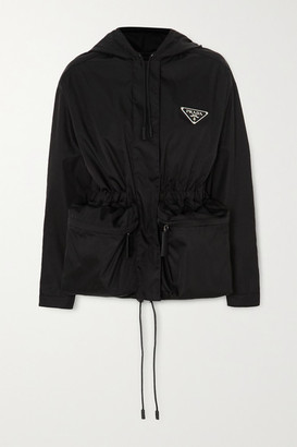 Prada Hooded Appliqued Nylon Jacket - Black