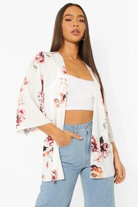 boohoo Floral Print Wide Sleeve Kimono