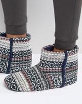 Dunlop Slipper Boots In Grey Fair Isle