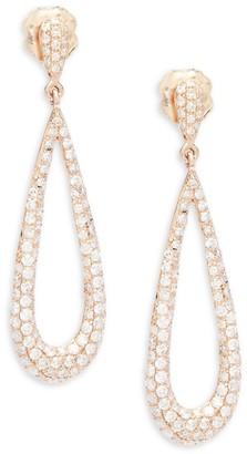Effy Diamond & 14K Rose Gold Tear-Drop Earrings