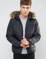Jack and Jones Originals Padded Jacket with Faux Fur Hood