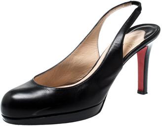 Christian Louboutin Black Leather Platform Slingback Sandals Size 38
