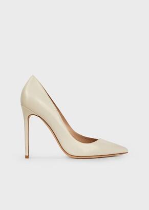 Giorgio Armani Asymmetric Court Shoes In Glossy Leather