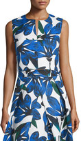 Milly Sleeveless Split-Neck Floral-Print Crop Top