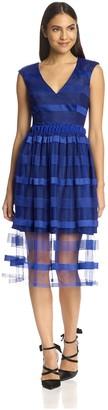 ABS by Allen Schwartz Women's V-Neck Dress with Striped Overlay