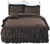 Serenta Matte Satin Ruffle 4 Piece Bed Spread Set, Chocolate, Queen