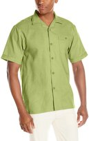 Stacy Adams Men's Linen Blend Solid Color Short Sleeve Shirt