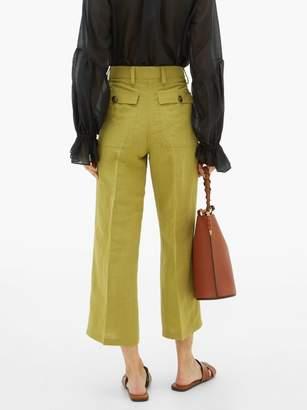 Etro Agave High-rise Linen-blend Trousers - Womens - Light Green