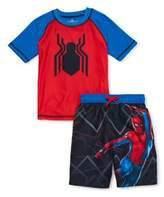 Spiderman Spider Man Boys Rash Guard Swim Shirt and Swim Trunks Set, UPF 50+, Sizes 4-7