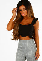 Pink Boutique With Love Black Frill Crop Top
