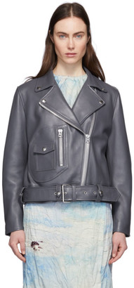 Acne Studios Grey Leather Biker Jacket