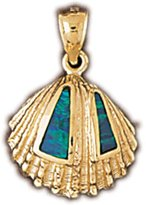 JewelsObsession 14K Yellow Gold & Opal Sea Shell Pendant