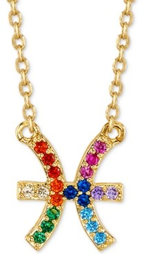 "Unwritten Rainbow Cubic Zirconia Zodiac Pendant Necklace in Gold-Tone Fine Silver Plating, 16"" + 2"" extender"