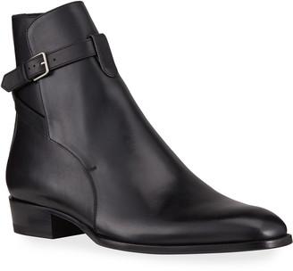 Saint Laurent Men's Jodhpur Leather Ankle Buckle Boots
