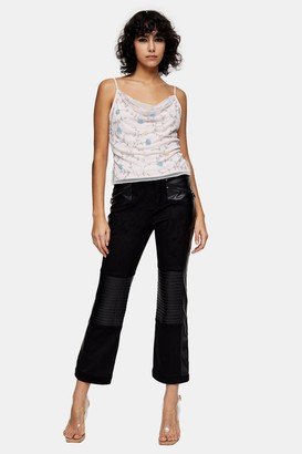 Topshop IDOL Black Faux Leather Trousers