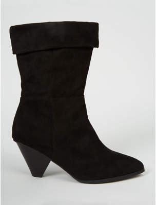 George Black Suede Effect Cone Heel Cuffed Boots