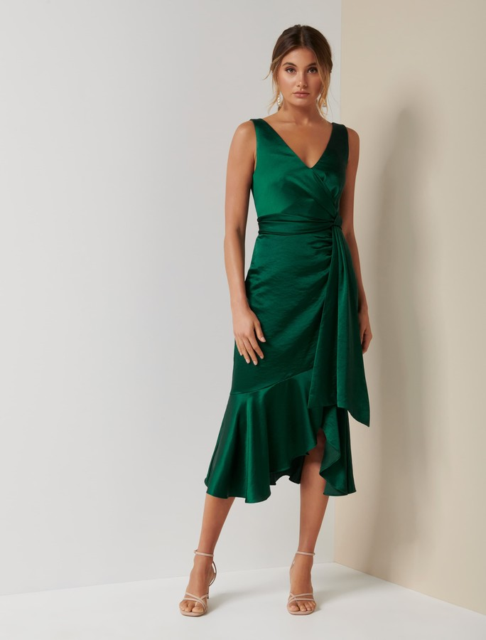 Forever New Gracelyn Satin Wrap Midi Dress - Bright Emerald - 10
