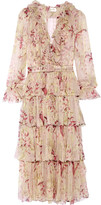 Zimmermann Winsome Tiered Crinkled Silk-chiffon Dress - Blush