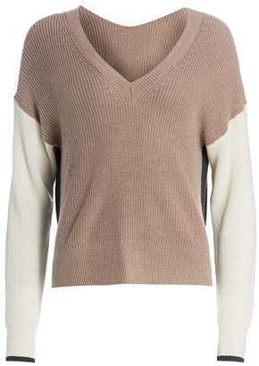 Splendid Gemma Colorblock Rib-Knit Sweater