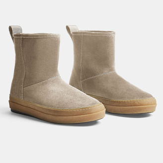 James Perse Carbon Suede Shearling Boot - Womens