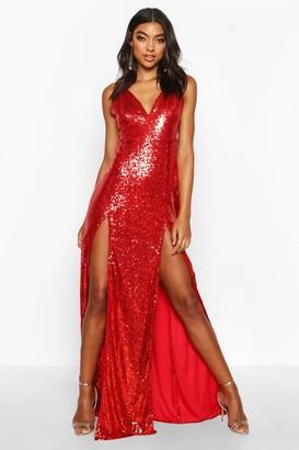 boohoo Tall Plunge Sequin Maxi Dress