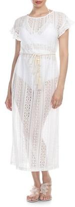 La Moda Clothing Crochet Mesh Laced Beach Cover-Ups