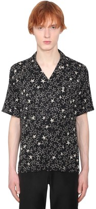 Saint Laurent Star Print Short Sleeved Silk Shirt