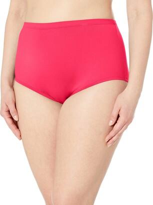 La Blanca Women's Plus Size Island Goddess Solid High Rise Bikini Bottom