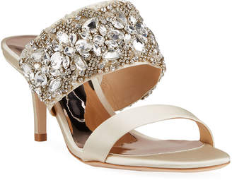 Badgley Mischka Linda Crystal and Jeweled Sandals